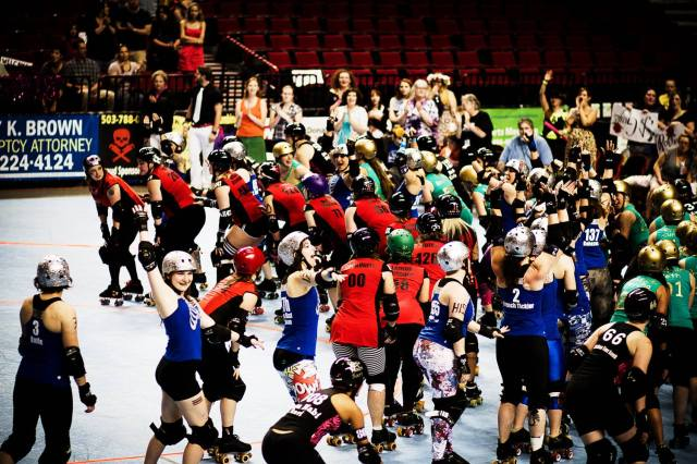 We have a lot of skaters here. This was the 2013 home team championships. High Rollers won. Photo by Alan Cook