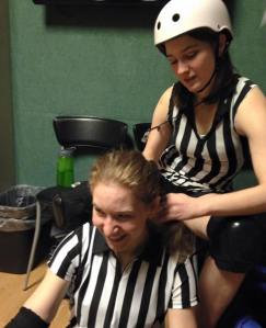 Hair braiding for a zebra packmate (teammate?) is love.