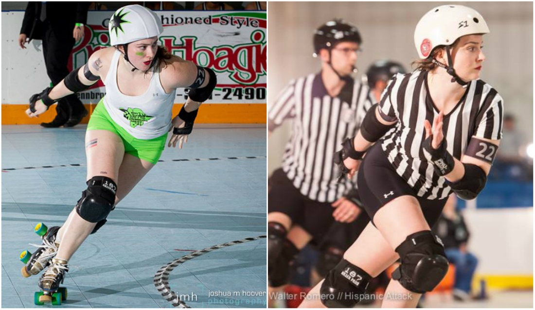 A roller derby jammer and the same person is the roller derby referee